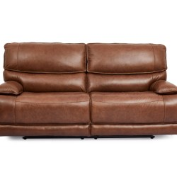 Cheers Leather Dual Power Motion Sofa in Brown