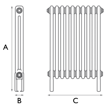 Home-Refresh-Carron-Enderby-2-Column-10-Section-Steel-Radiator-710mm Drawing