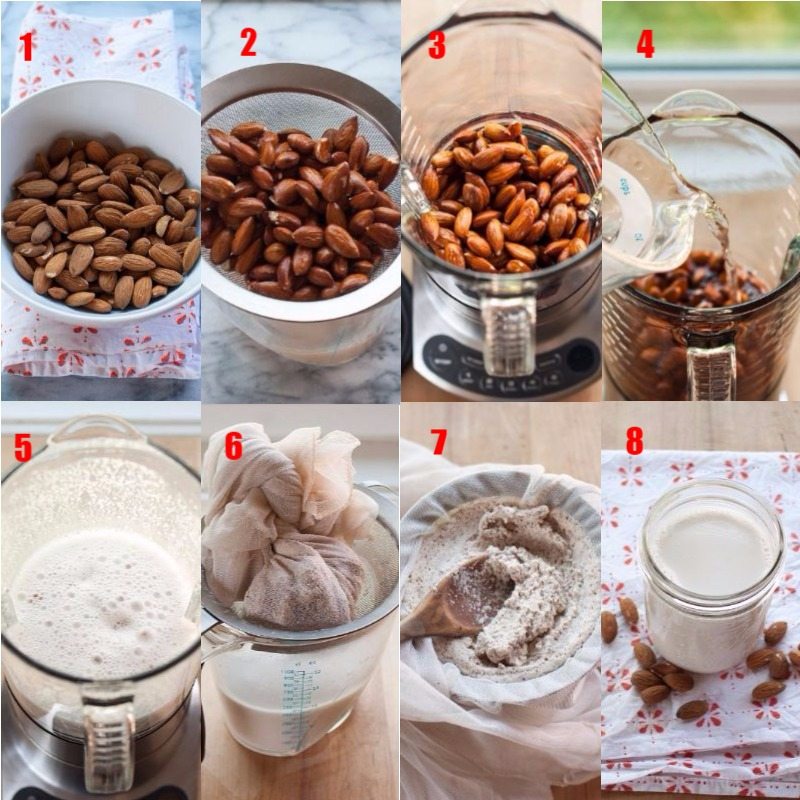 almond milk making steps