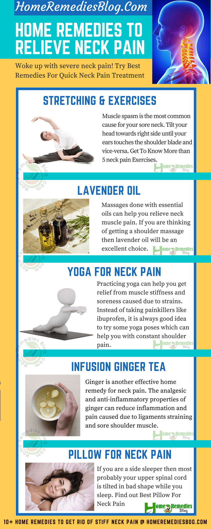 Effective Home Remedies To Get Relief From Neck Pain Naturally - Infographics