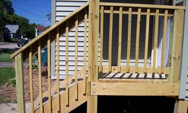 Pressure Treated Wood Decks In Mayville Wisconsin Brad S | Pressure Treated Deck Stairs | Flared | 5 Foot | Landing | Pre Built | Simple
