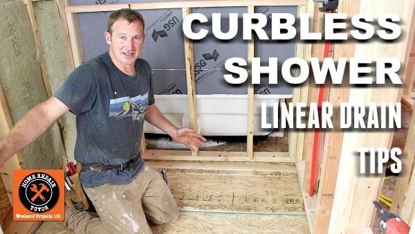 curbless shower pan with linear drain