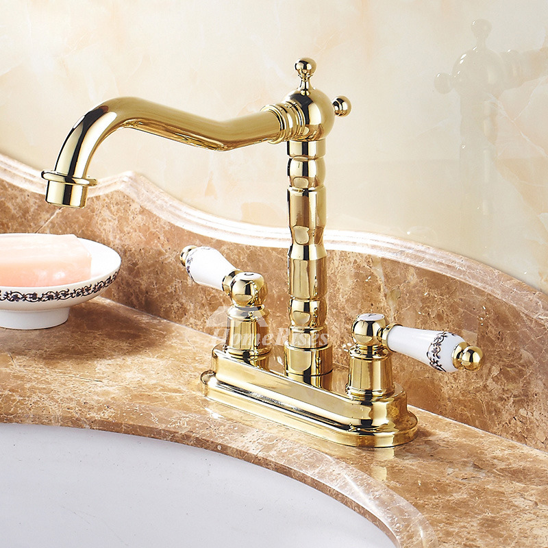 centerset bathroom faucet two handles polished brass ceramic