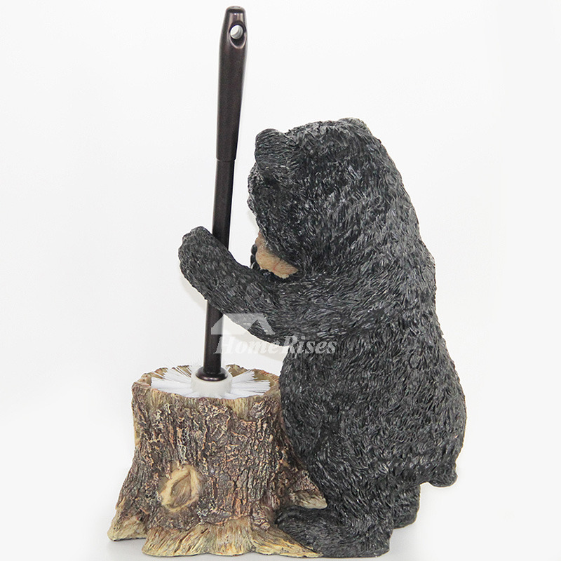 Decorative Toilet Brush Holder Bear Shaped Black Stand