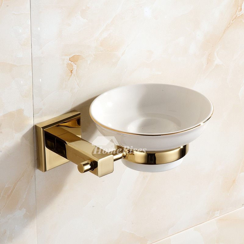 polished brass ceramic soap dish wall mounted for bathroom