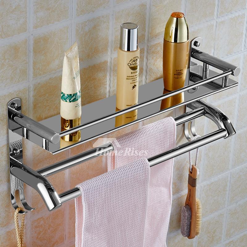 Vivid 2 Layer Metal Bathroom Wall Shelf With Hook
