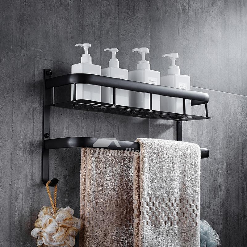 Solid Wall Mount Towel Rack Black Bathroom