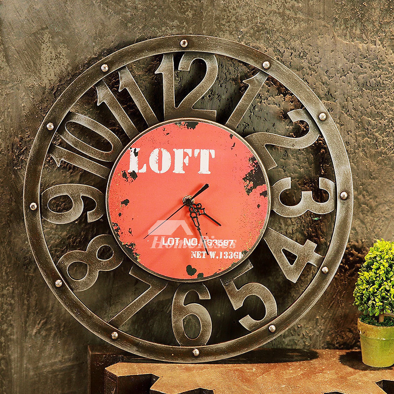 Novelty Wall Clocks Hanging Round 157 Inch Wood Carved Painting