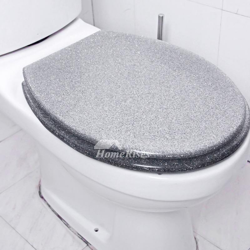 Funky Glitter Resin Elongated Toilet Seat Resin Silver