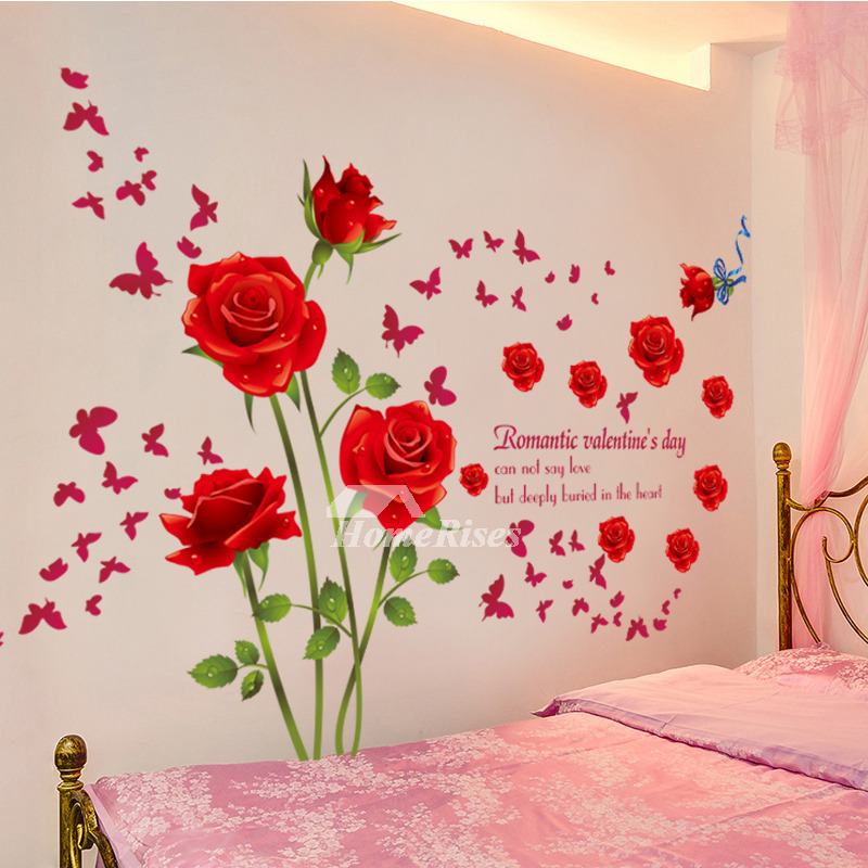 Adhesive Wall Stickers Flower Letter Decorative Bedroom
