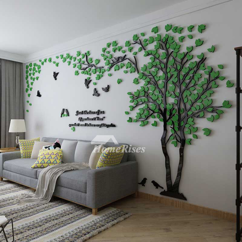 Tree Wall Decal 3D Living Room GreenYellow Acrylic Best