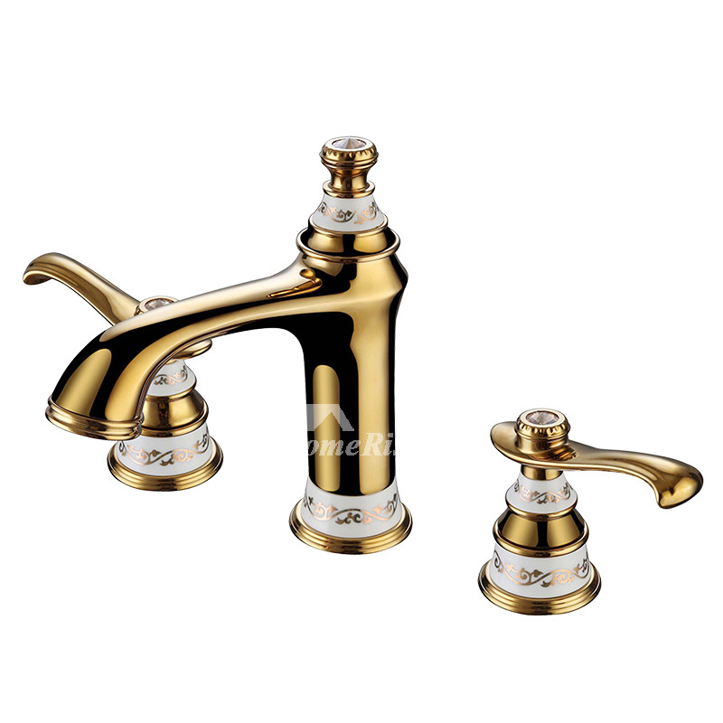 luxury bathroom faucets polished brass widespread 2 handle ceramic solid bar