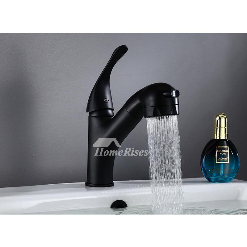 pull out bathroom faucet black oil rubbed bronze vessel single handle