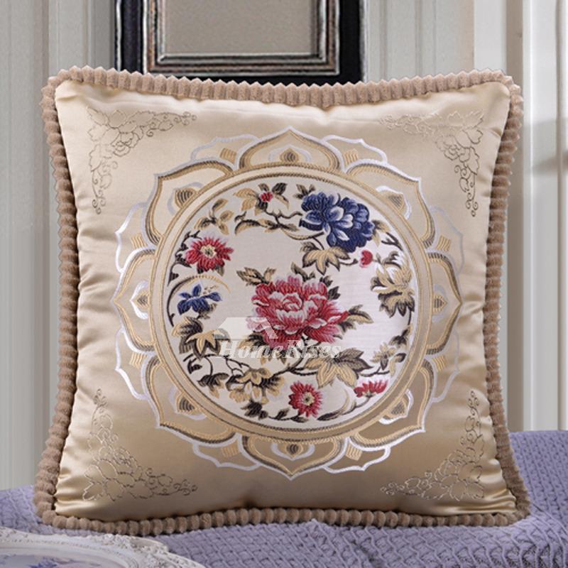 Vintage Square Decorative Couch Pillows BurgundyCream