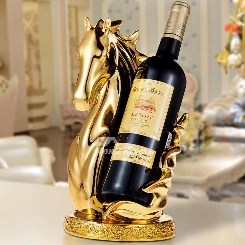 Luxury GoldSilverWhite Resin Carved Single Wine Bottle