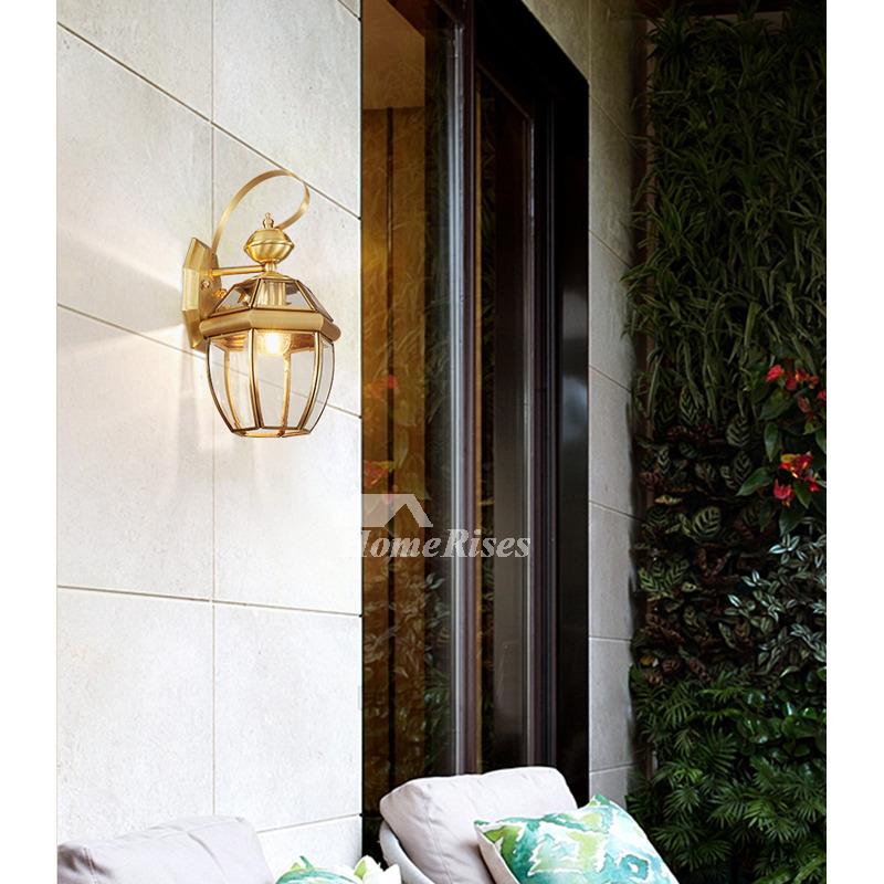 Outdoor Wall Sconce Lantern Exterior Brass Glass Decorative Lighting