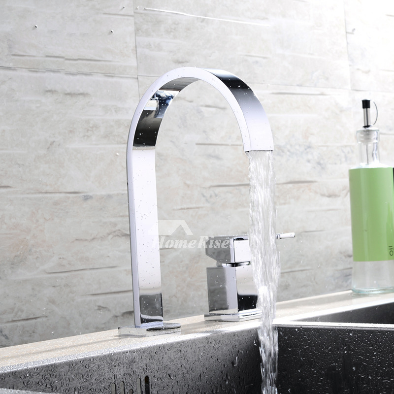 widespread brass chrome 2 hole gooseneck bathroom faucet silver