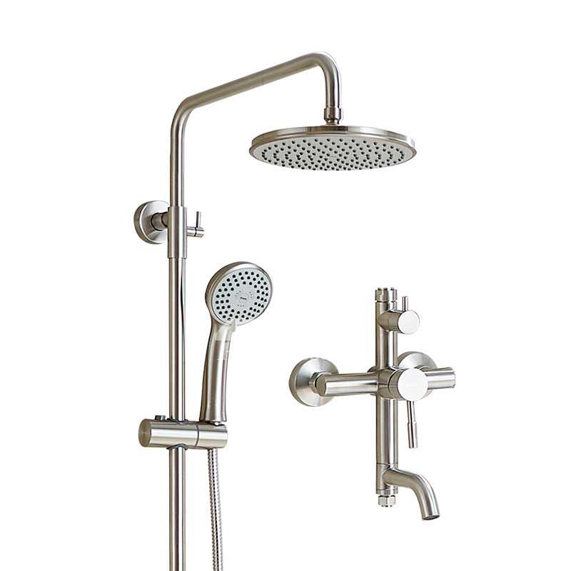solid stainless steel wall mount brushed nickel shower faucet silver