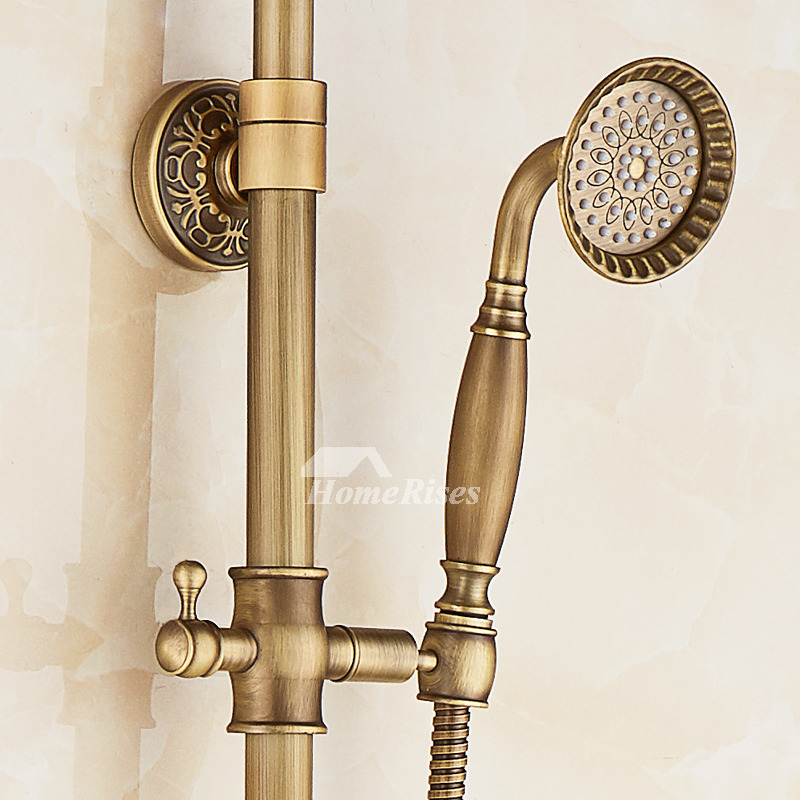 Shower Faucet With Handheld Antique Brass Wall Mount Vintage