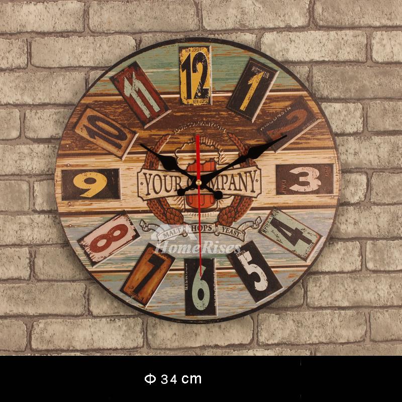Decorative Wall Clocks Kitchen Unique Wooden Round 135
