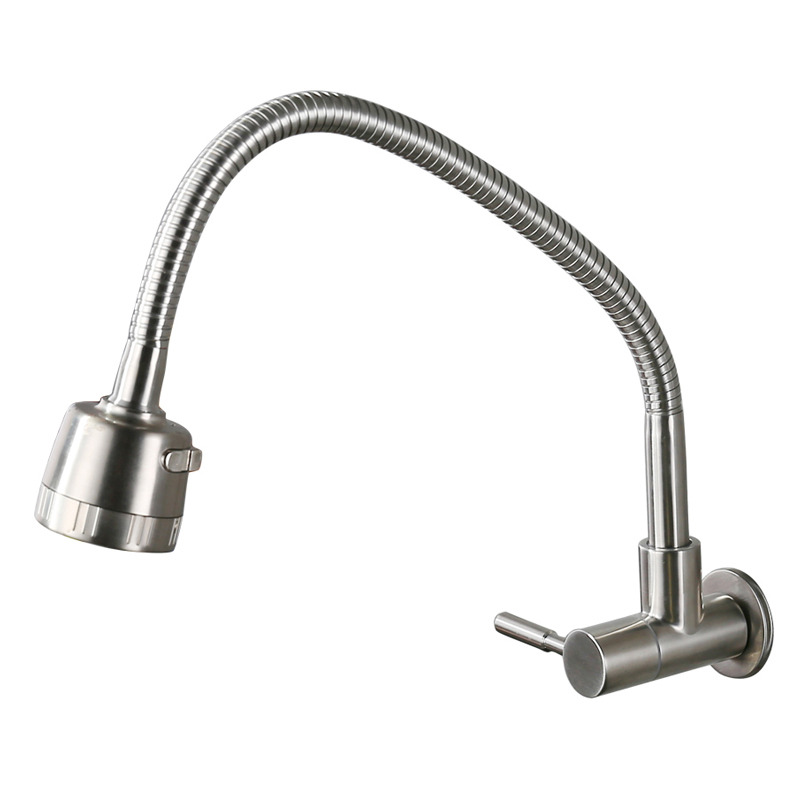 pull down kitchen faucet brushed stainless steel wall mount silver