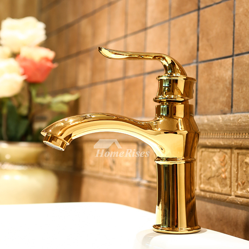 discount bathroom faucets polished brass gold single handle luxury