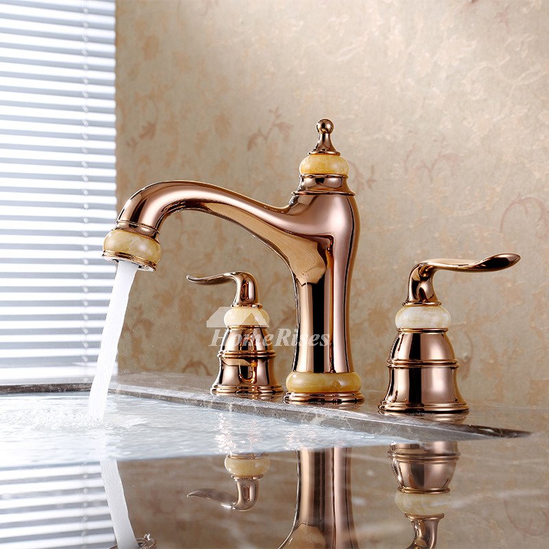 bathroom tub faucets 3 hole two handles rose gold widespread water