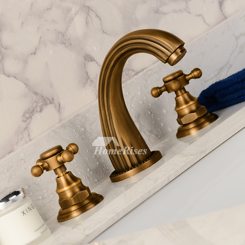 deck mount tub faucet antique brass gold two cross handle widespread