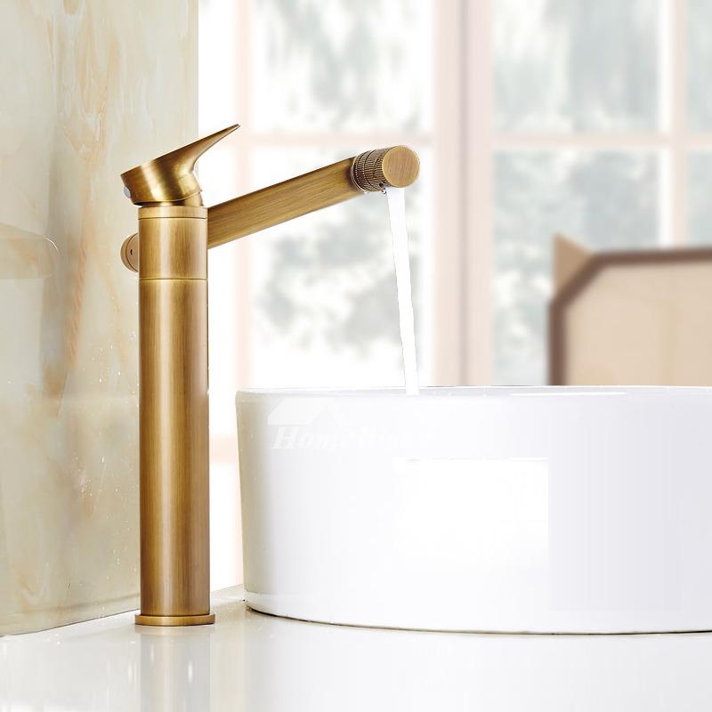 antique brass bathroom faucet brushed adjustable single handle gold