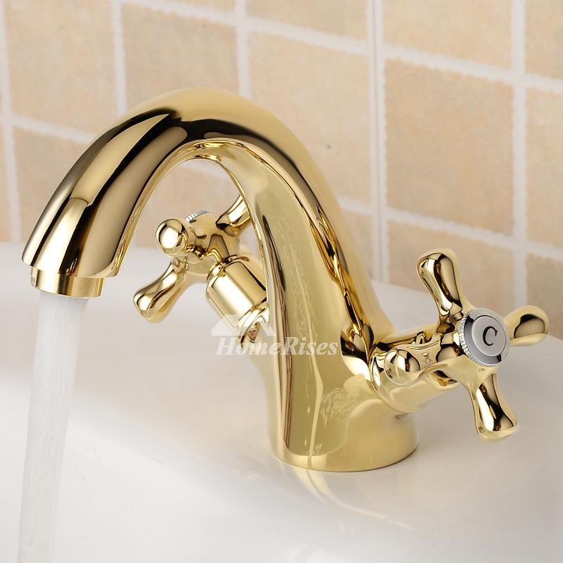 gold bathroom faucet centerset cross handle single hole polished