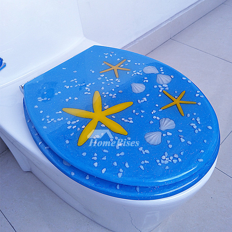Blue Seashell Decorative Luxury Resin Elongated Soft Close