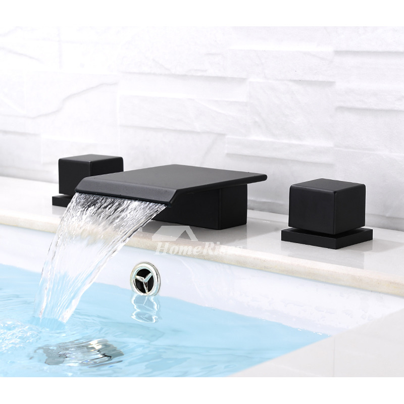 black bathroom faucets 3 hole oil rubbed bronze square waterfall