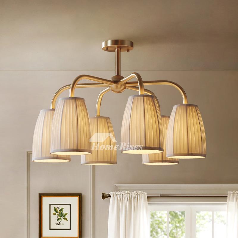rustic chandeliers 6 4 light bedroom lighting vintage brass fabric shade