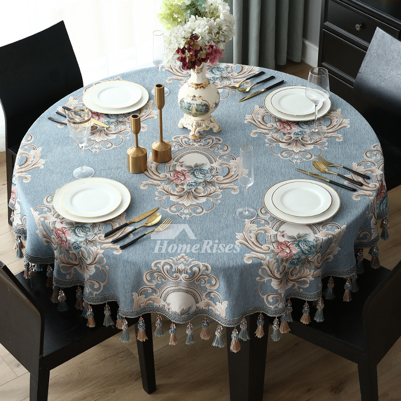 Spring Tablecloths 70 Inch Round BlueBeige Polyester Cotton Fabric