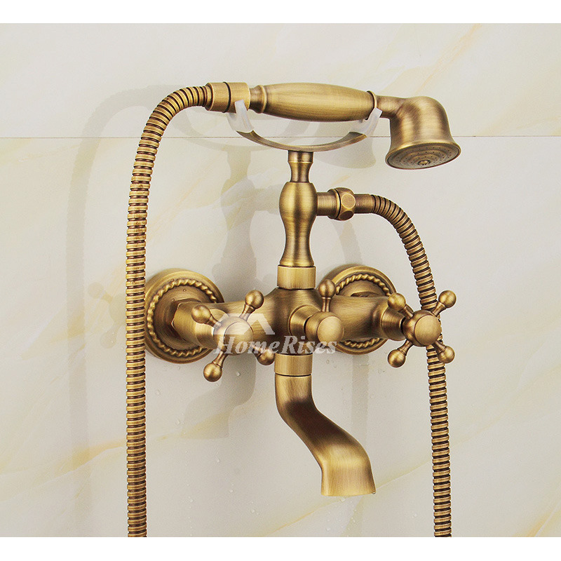 clawfoot tub faucet wall mount two handle antique brass gold best