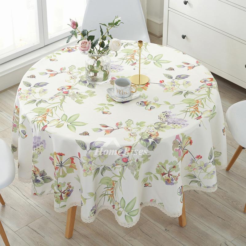 Modern Cotton Linen Cheap Tablecloths Round 70 Inch Beige