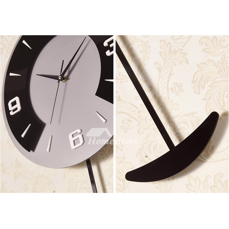 Kitchen Modern Wall Clock Decorative Pendulum Black Coffee