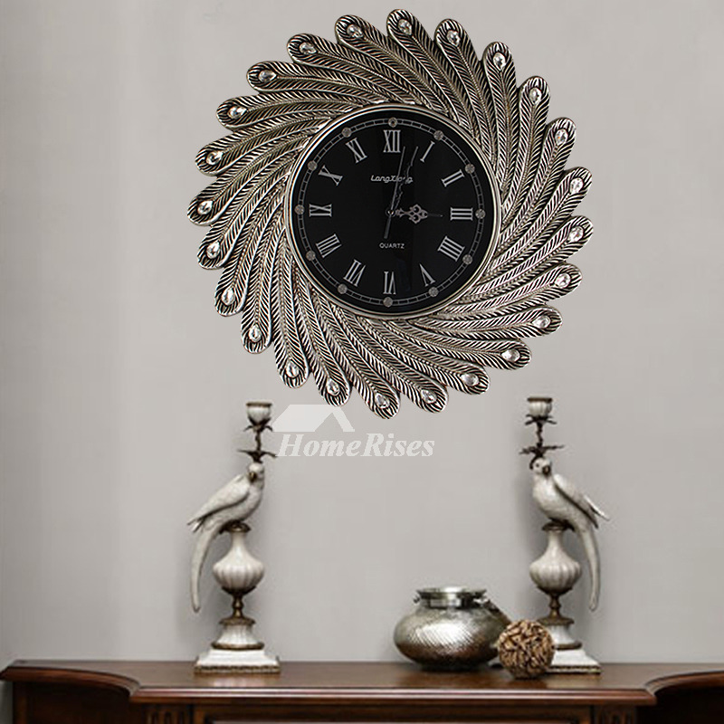 Luxury Large Wall Clock Decorative Vintage Gold White