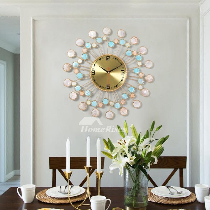 Beach Shell Modern Big Wall Clock Living Room Creative Quartz Metal