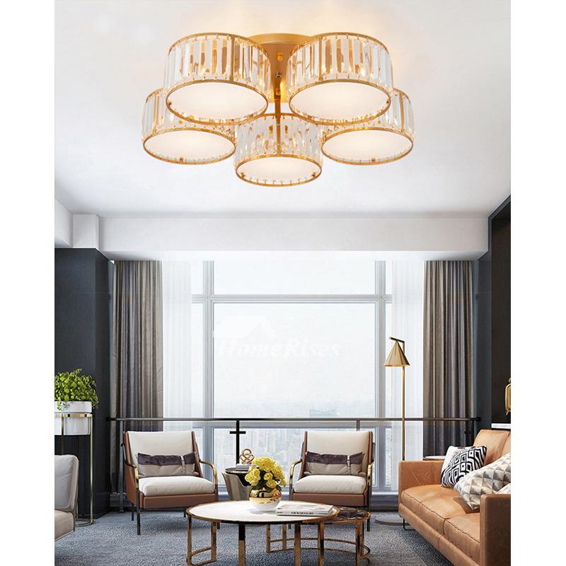 3 5 lighting round crystal shades ceiling light cover semi flush mount rustic living room golg black