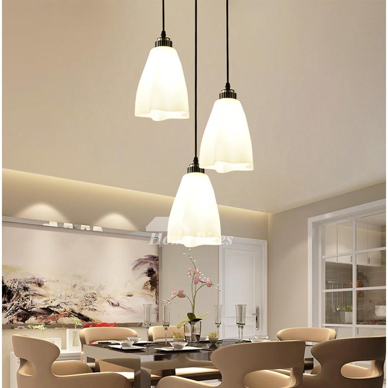 Pendant Lighting 3 Light Kitchen Flower Glass Foyer Modern Black Chassis Fish Line Chandelier Industrial