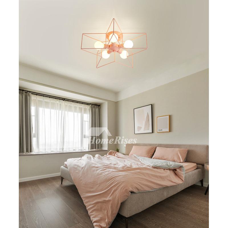 Pentagram Kids Ceiling Lighting Star Girl S Room Pink Wrought Iron Black Green Bedroom Decorative