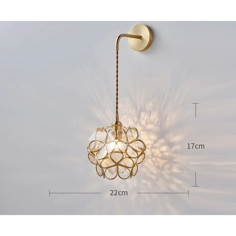 pink flower petal brass wall lamp glass girls bedroom bedside decoration craftsman hanging wall sconce