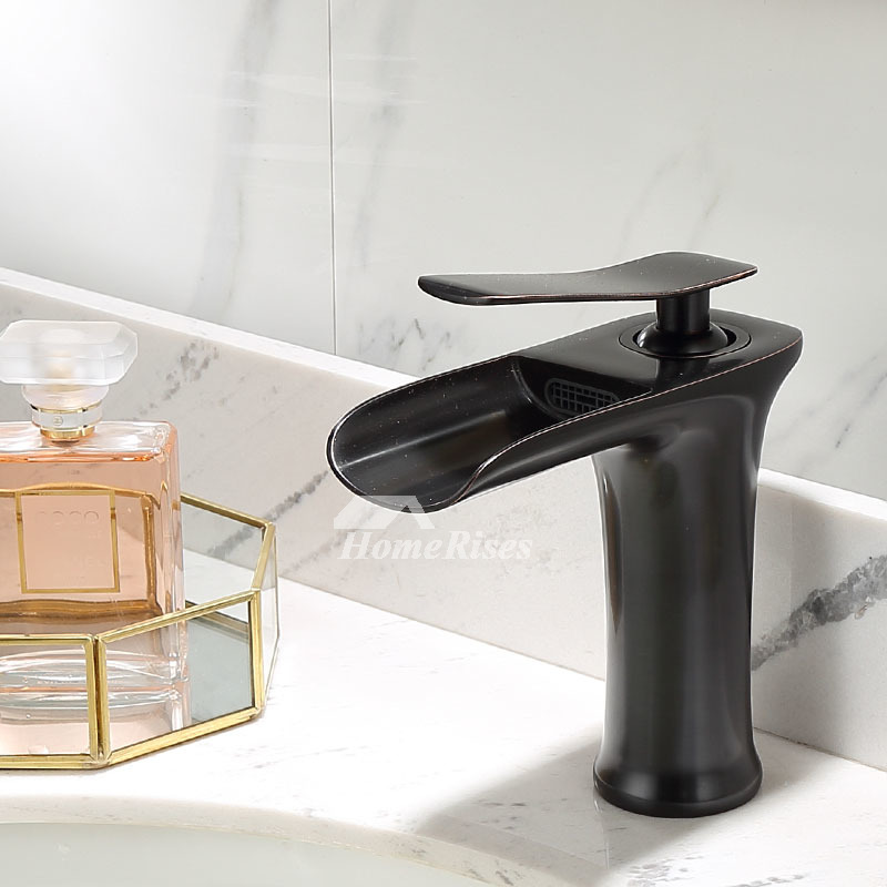 brass waterfall bathroom vessel sink faucet oil rubbed bronze brushed nickel antique brass black chrome