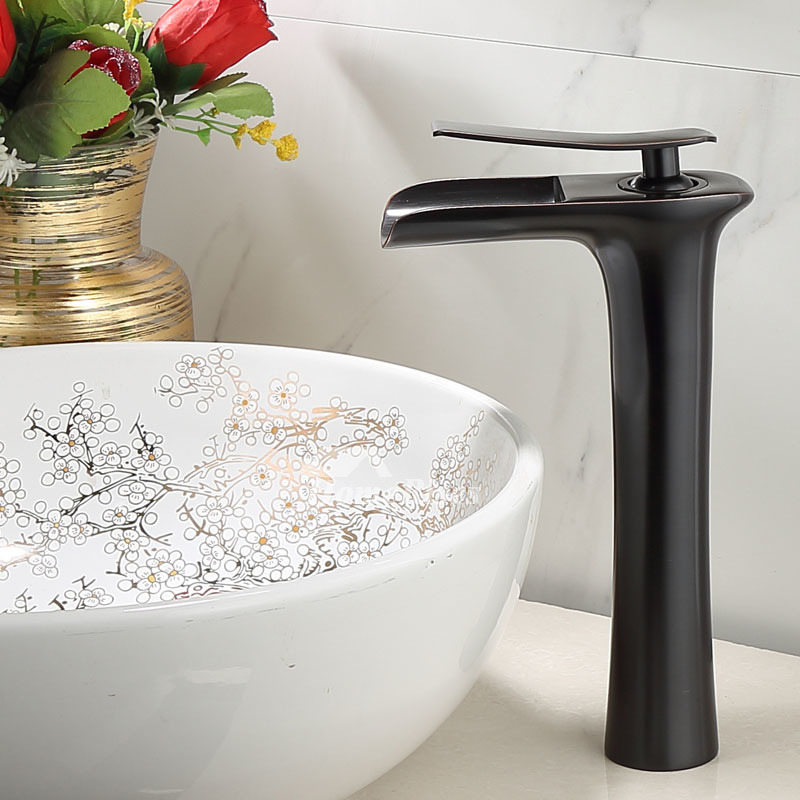 brass oil rubbed bronze antique brass brown bronze brushed nickel chrome black waterfall vessel faucet