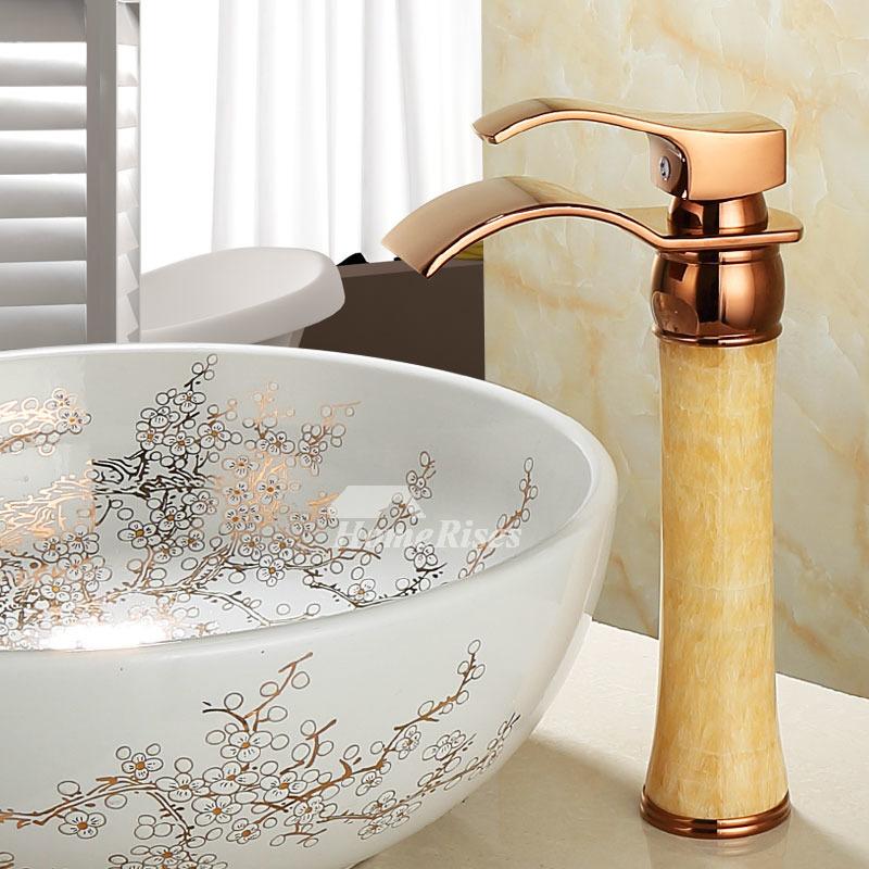 rose gold best bathroom bowl sink faucets tall vessel jade brass single handle waterfall