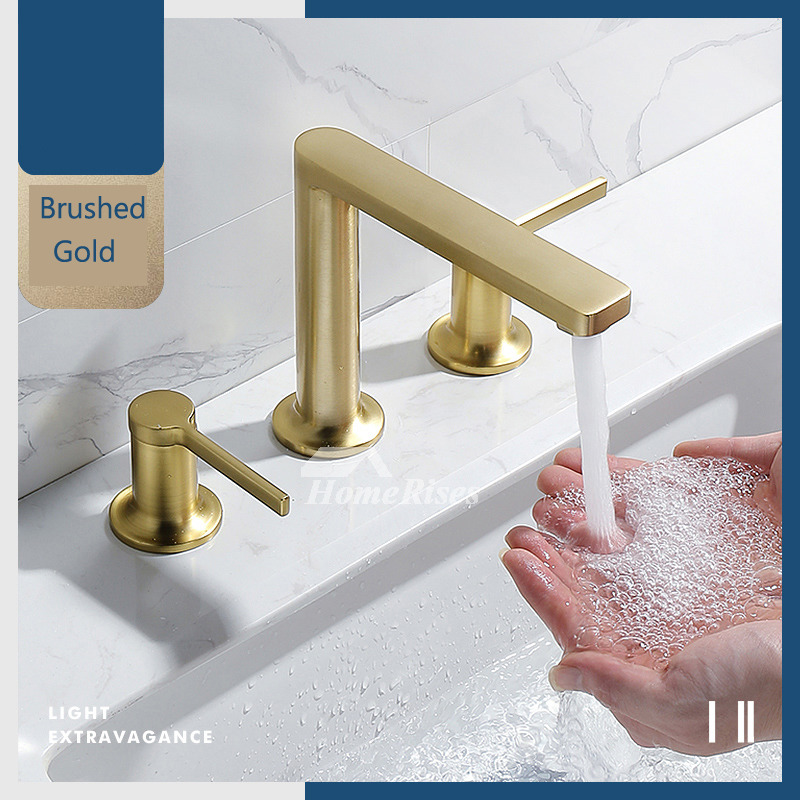 brushed gold waterfall faucet for vessel sink 3 hole brass modern luxury widespread commercial