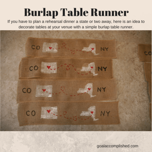 burlap runners stamped with outline of CO and NY