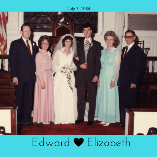 A Father's Day Tribute to my husband: Picture shows parents of the bride, myself the bride, my husband and parents of the groom standing at the front of the church