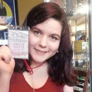 Azure Allen with her Indie Grits filmmaker badge
